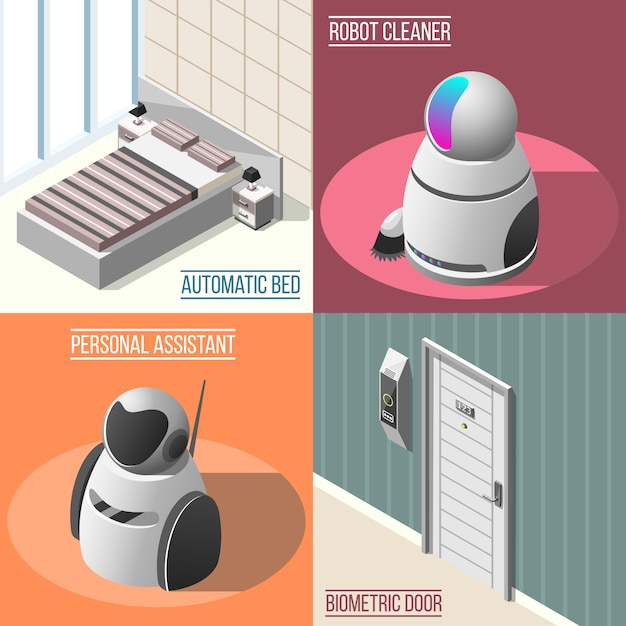 Концепция роботизированных отелей Бесплатные векторы