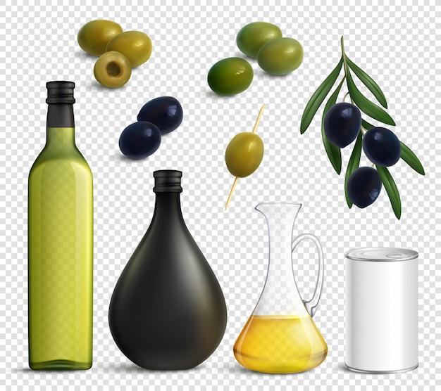 Реалистичный прозрачный набор с оливковым маслом Бесплатные векторы