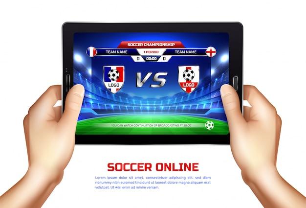 Футбол онлайн трансляция иллюстрация Бесплатные векторы