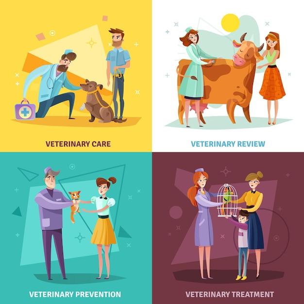 ペットと農場の動物の獣医治療と予防の獣医医師コンセプト 無料ベクター