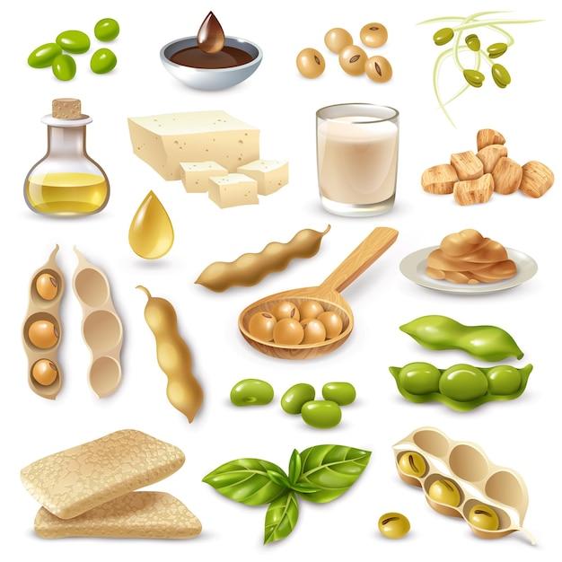 Набор соевых продуктов питания со спелыми бобами и зелеными листьями на белом изолированные Бесплатные векторы