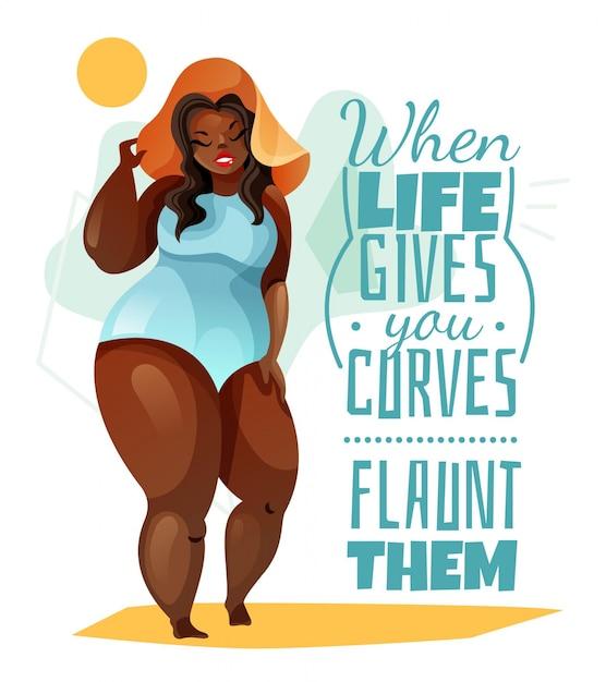 Плюс размер женщина в шляпе и синий купальник плакат с цитатой о теле Бесплатные векторы