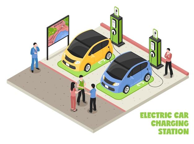 電気自動車の充電ステーション等尺性組成物と従業員と顧客が車の修理を待つ 無料ベクター