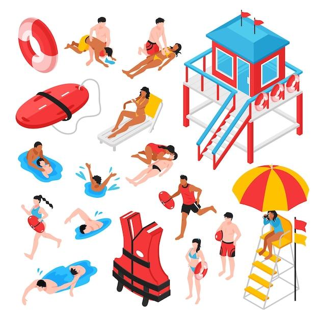 Пляжный спасатель изометрический набор спасателей станции спасательного инвентаря и спасателей, выполняющих искусственное дыхание изолированно Бесплатные векторы