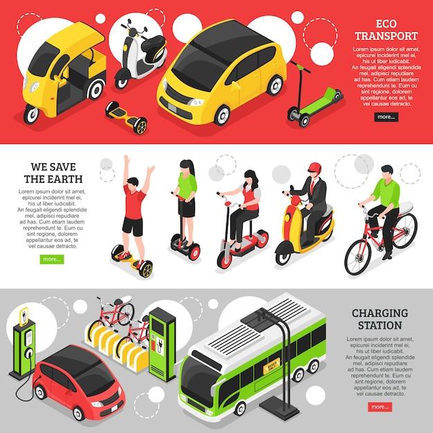 Экологические транспортные горизонтальные баннеры с городским и личным транспортом и зарядная станция для электромобилей изометрии Бесплатные векторы