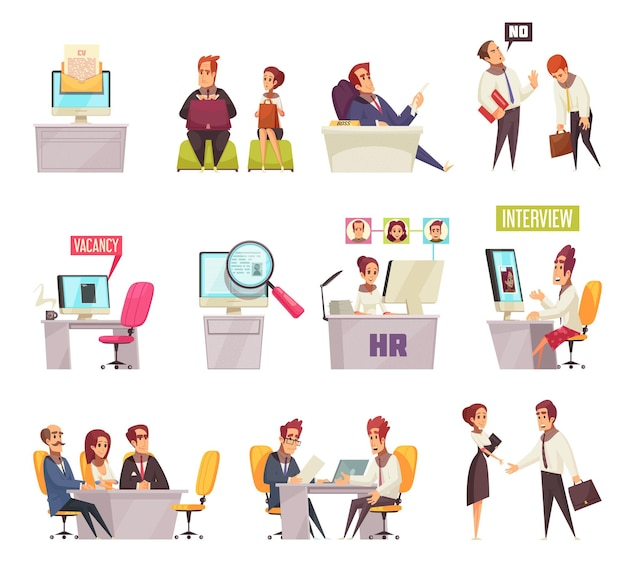 Возобновить набор набора иконок и композиций изображений с мультяшными офисными работниками и рабочими местами Бесплатные векторы