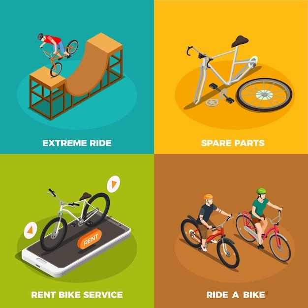 レンタル自転車サービススペアパーツと分離された極端な乗り物と自転車等尺性概念 無料ベクター