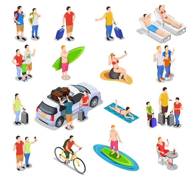 Набор изометрических людей во время каникул, путешествующих на машине, серфинг, езда на велосипеде, пляжный отдых, изолированные Бесплатные векторы