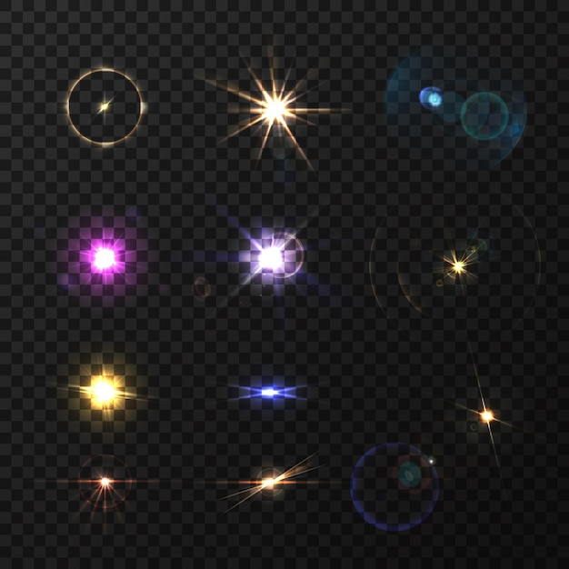 Вспышки объектива и мерцающий реалистичный цветной набор изолированы Бесплатные векторы