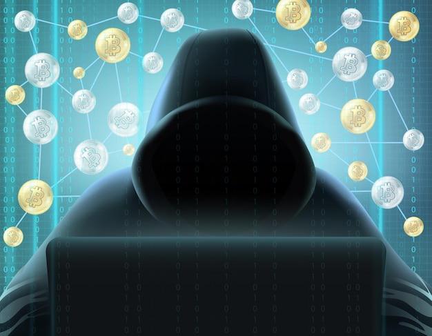 Криптовалютный блокчейн, реалистичный майнер в черном капюшоне за компьютером на фоне цифрового экрана и сети биткойнов Бесплатные векторы