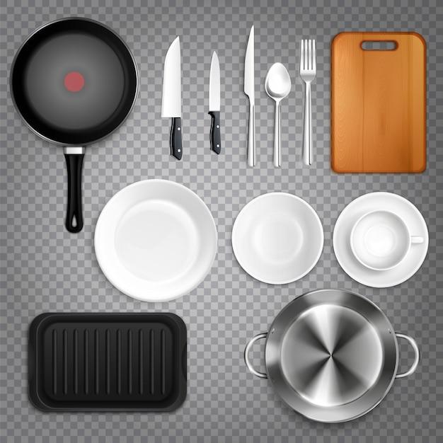 Кухонная утварь реалистичный набор вид сверху со столовыми приборами ножи тарелки разделочная доска сковорода прозрачная Бесплатные векторы