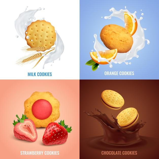 分離されたイチゴとチョコレートの味のシンボル入りクッキー現実的な概念のアイコン 無料ベクター