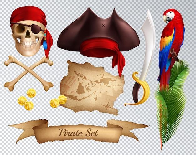 Пиратские реалистичные иконки набор сабля пиратская шляпа красная бандана, привязанная к черепу попугай на пальмовой ветке, изолированных на прозрачной Бесплатные векторы