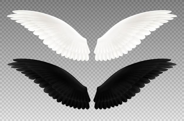 Набор реалистичных черно-белых пар крыльев на прозрачном, как символ добра и зла изолированы Бесплатные векторы