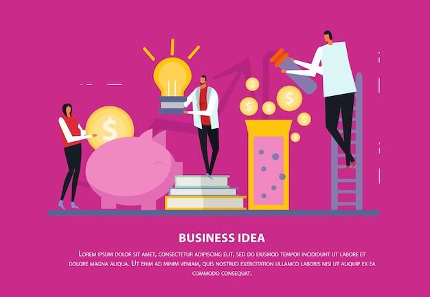 Независимая бизнес-концепция плоская композиция с редактируемым текстом и человеческими персонажами с иконами и силуэтами Бесплатные векторы