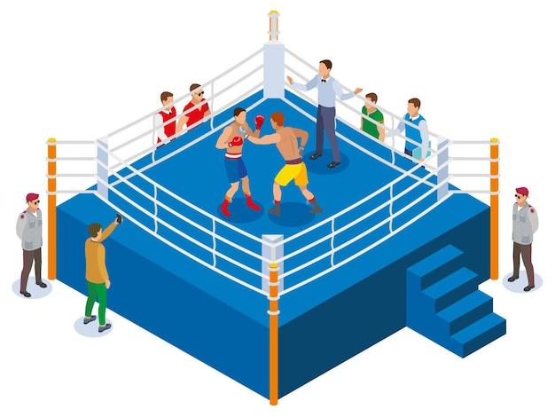 Изометрическая композиция коробки с видом на наружный боксерский ринг с двумя спортсменами-рефери и фанатами Бесплатные векторы