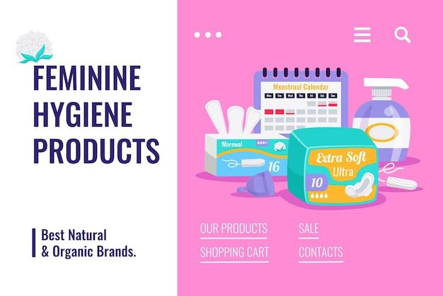 生理カレンダータンポンパッドパンティーライナー付き女性衛生自然有機製品フラット広告販売バナー 無料ベクター