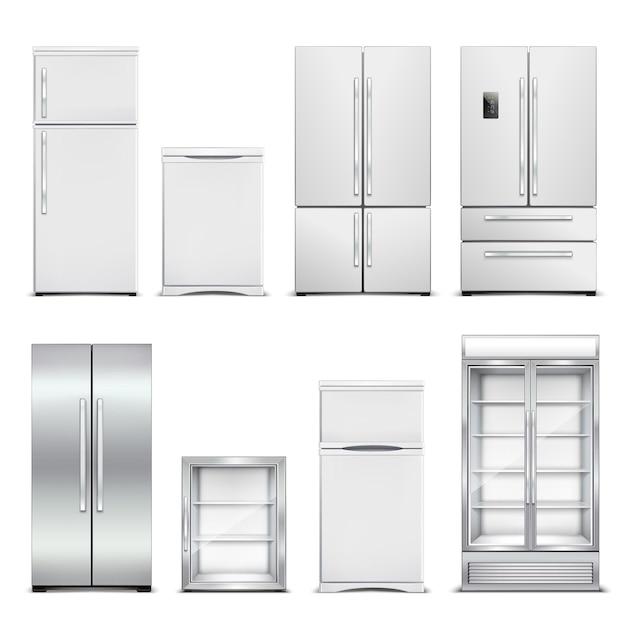 Рефрижератор холодильник реалистичный набор изолированных шкафов с различными моделями и дверных форм на бланке Бесплатные векторы