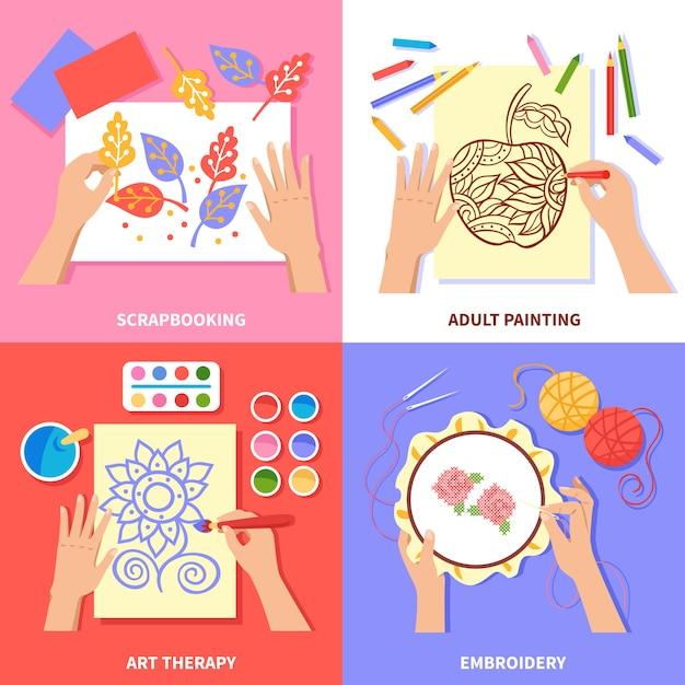 カラフルな背景に分離されたスクラップブッキングの絵画と刺繍プロセスの手作りデザイン 無料ベクター