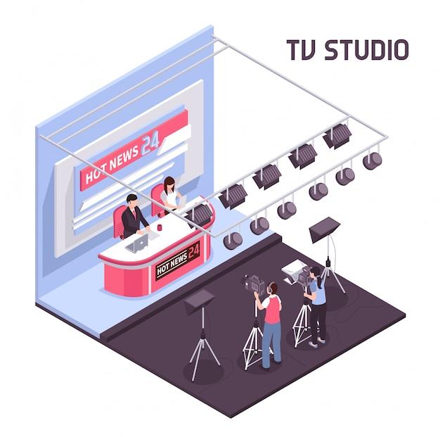 Горячие новости в прямом эфире из телевизионной студии концепции на белом фоне изометрической иллюстрации Бесплатные векторы