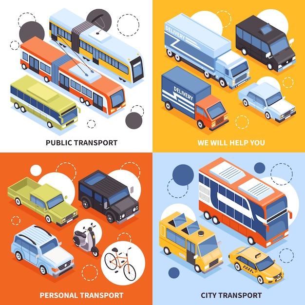 Общественный транспорт городские перевозчики личный транспорт грузовики для доставки грузов изометрии дизайн иллюстрация концепции Бесплатные векторы