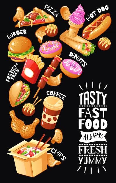 Плоский дизайн плаката с меню для кафе быстрого питания с гамбургерами, пиццей, напитками, куриными десертами Бесплатные векторы