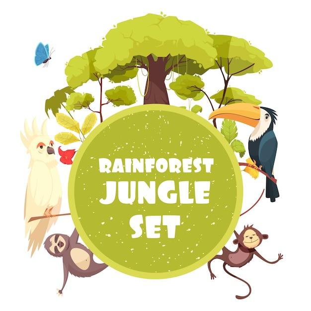 Иллюстрации шаржа джунглей с деревьями и растениями тропического леса и экзотических животных Бесплатные векторы