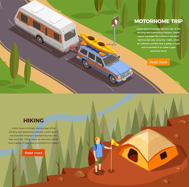 Изометрические горизонтальные баннеры для кемпинга с редактируемым текстом «читать дальше» и изображениями поездки Бесплатные векторы