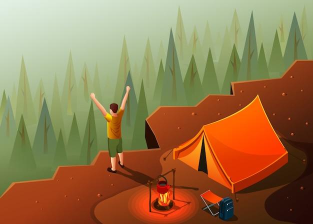 キャンプハイキング山頂の風景とキャンプファイヤーと幸せな男のイラストとテント等尺性のアイコン組成 無料ベクター