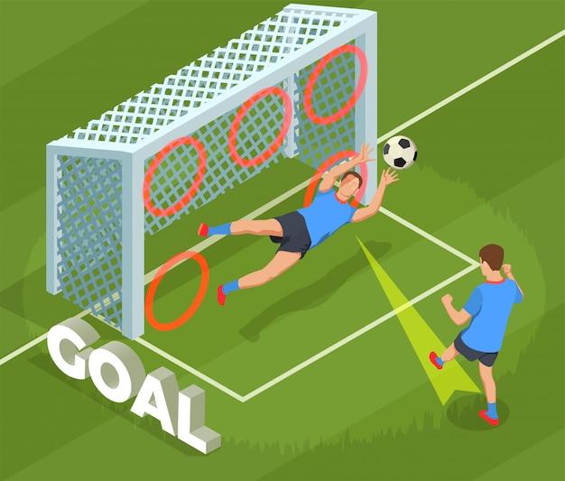 Футбол футбол изометрическая композиция людей с человеческим характером игрока бросая гол в клетку Бесплатные векторы