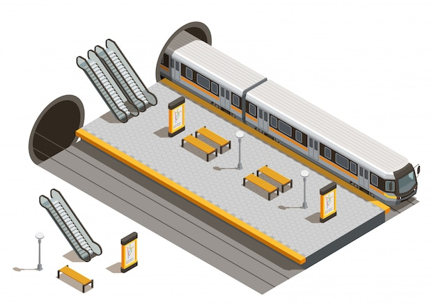 Общественный городской транспорт изометрической композиции с подземными эскалаторами станций метро и скамейками с подземным подвижным составом Бесплатные векторы