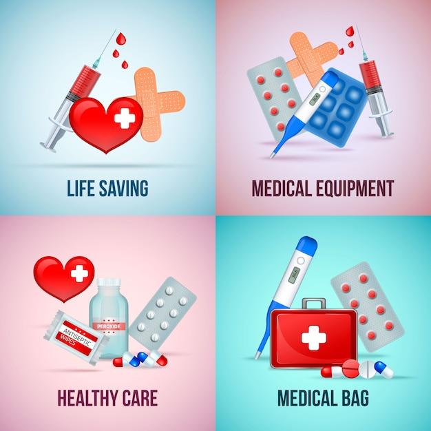 Аптечка первой помощи, концепция квадрат с таблетками термометра символ сердца Бесплатные векторы