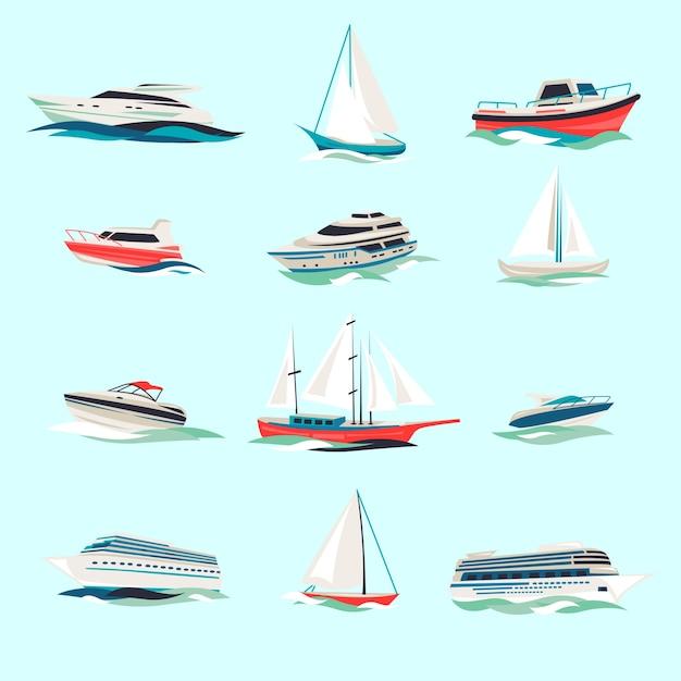 Морские лодки круизные морские перевозки яхты моторные суда плоские иконки с струйным резаком абстрактные изолированные векторные иллюстрации Бесплатные векторы