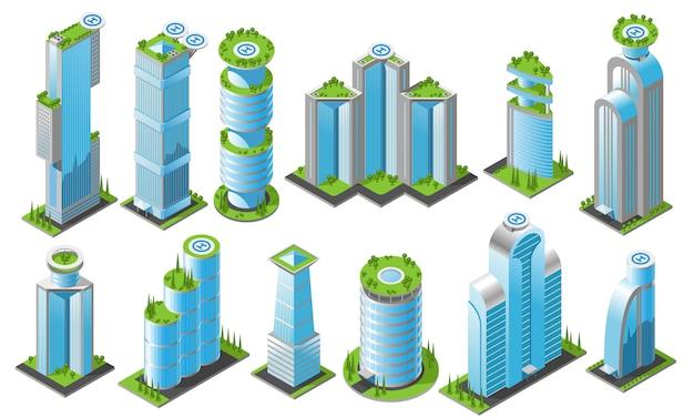 Изометрические футуристические небоскребы набор иконок с различными стилями офисных зданий высот и форм Бесплатные векторы