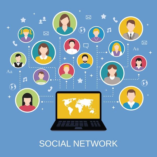 Концепция сети социальных сетей с мужскими и женскими аватарами, связанными с помощью векторной иллюстрации ноутбука Бесплатные векторы