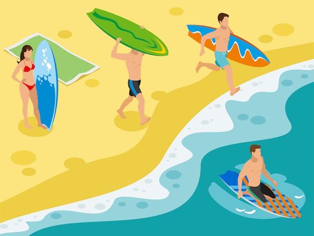 Серфинг, песчаный пляж, прибрежные пейзажи и персонажи серферов со своими досками Бесплатные векторы