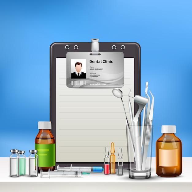 Стоматологическая клиника, доктор, офисные принадлежности с зеркалом для сверления идентификационных карт, гигиена полости рта, медицина реалистично Бесплатные векторы