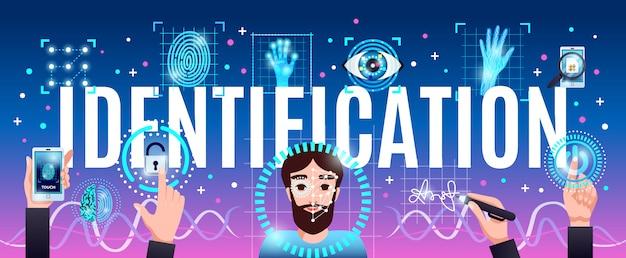 顔の手と目の認識による革新的なコンピューターセキュリティ技術の水平カラフルな構成ヘッダータイトルの識別 無料ベクター