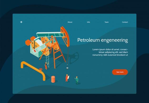 Нефтяной промышленности дизайн страницы с символами нефтяной инженерии изометрии Бесплатные векторы