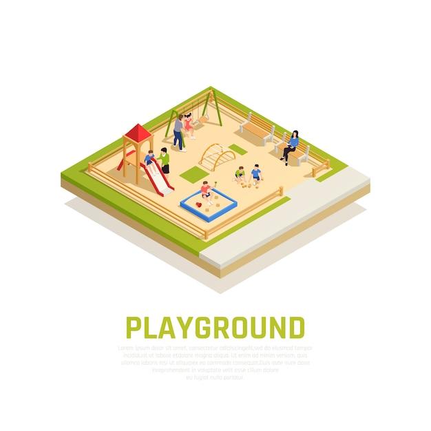 家族の子供のシンボルと遊び場で等尺性概念を再生 無料ベクター