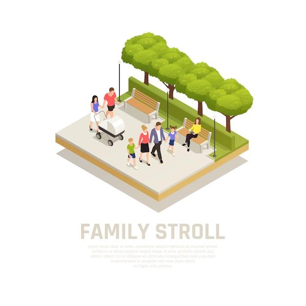 公園散歩等尺性の公園シンボルと家族散歩コンセプト 無料ベクター