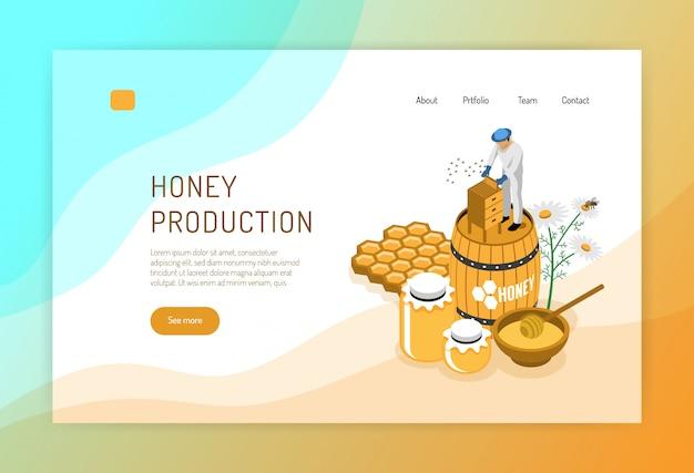 Производство меда изометрической концепции веб-страницы с пчеловодом во время работы над цветом Бесплатные векторы