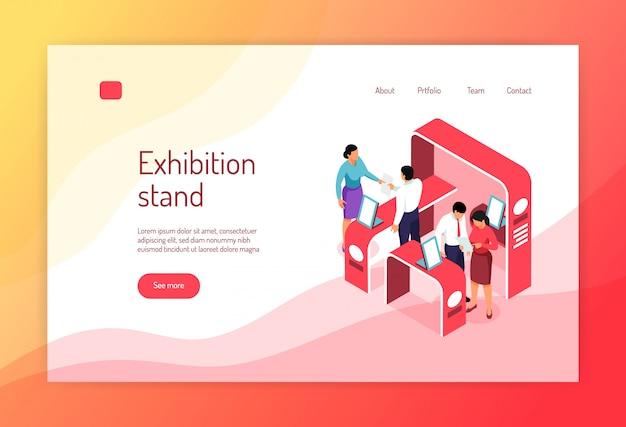 等尺性博覧会コンセプトバナーウェブサイトページデザインの展示ラックの人々とクリック可能なリンク 無料ベクター