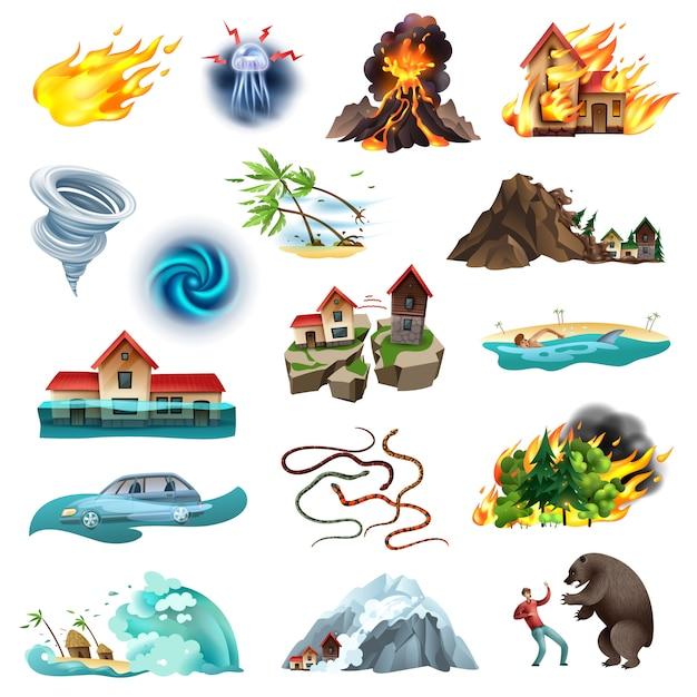 Стихийные бедствия, угрожающие жизни, коллекция красочных иконок с торнадо, лесной пожар, затопляющий ядовитых змей Бесплатные векторы