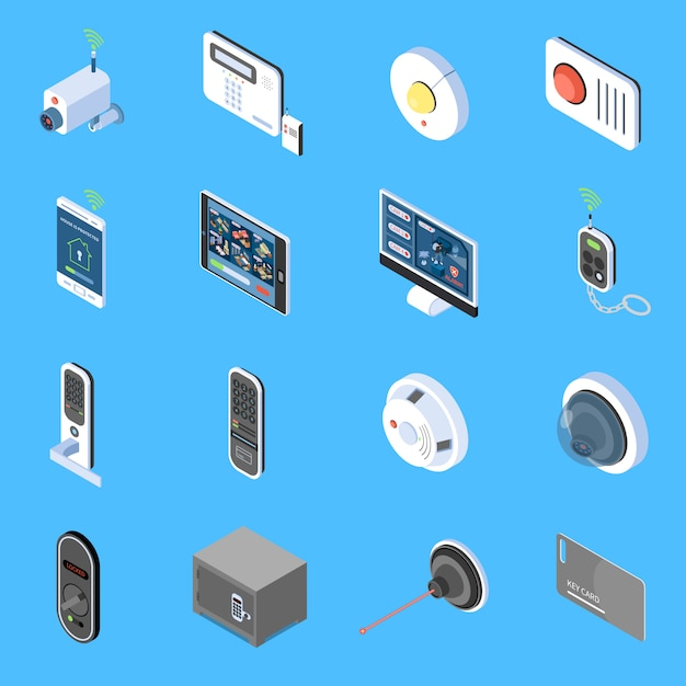 Изометрические иконки домашней безопасности с элементами системы видеонаблюдения пожарной сигнализации и кодовые замки изолированы Бесплатные векторы