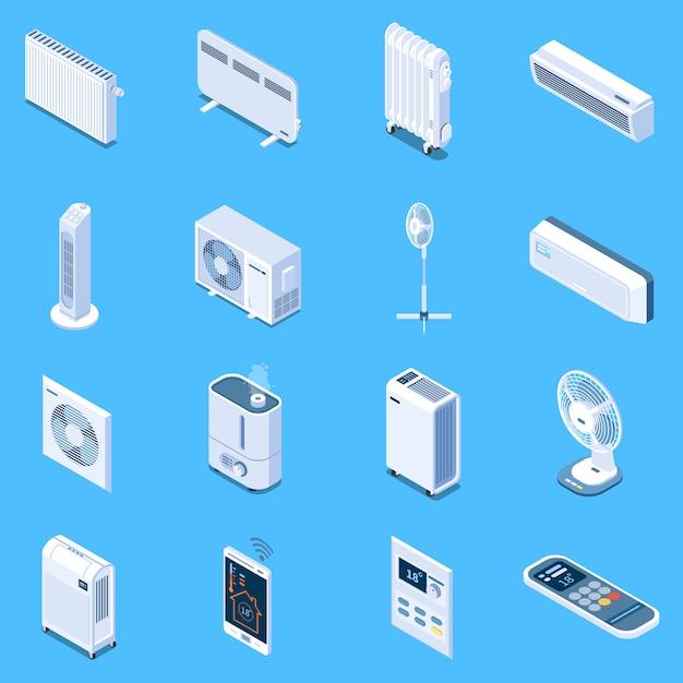 Домашний климат-контроль изометрические иконки с напольным столом и башенными вентиляторами, кондиционер, тепловая завеса, электрические и масляные обогреватели изолированы Бесплатные векторы