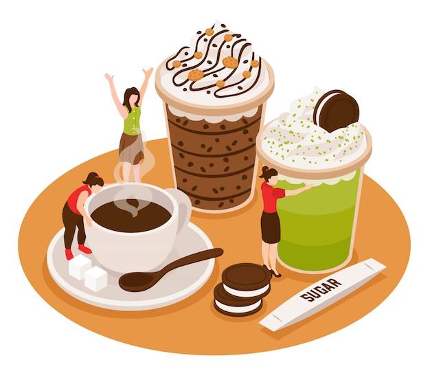 一杯のコーヒーと小さな人々のキャラクターとデザートと等尺性コーヒーハウスバリスタ概念構成 無料ベクター