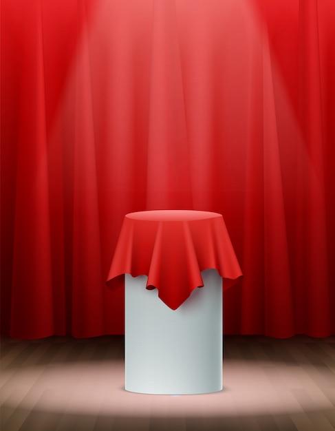 ステージ上のリアルな赤い絹の布のプレゼンテーション 無料ベクター