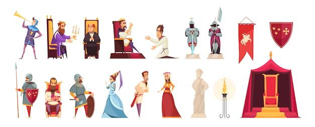 Средневековый замок приписывает жителям плоский набор иконок с вязаным королем лордом леди геральдическим флагом Бесплатные векторы