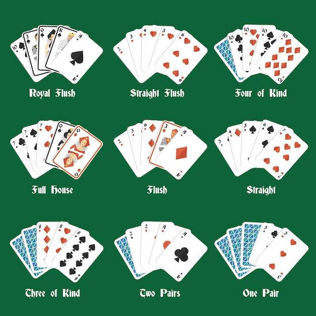 Покер руки с королевским флешем четыре вида полный дом изолированных векторных иллюстраций Бесплатные векторы